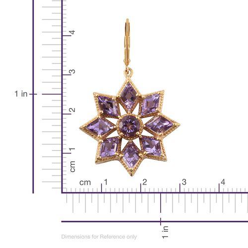 Rose De France Amethyst (KITE) Floral Lever Back Earrings in 14K Gold Overlay Sterling Silver 12.750 Ct. Silver wt. 10.67 Gms.