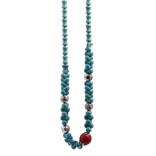 Simulated Coral and Howlite Necklace (Size 18) in Silver Bond with Stainless Steel