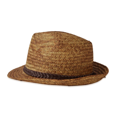 Thomas Calvi Mens Summer Panama Style Chocolate and Beige Colour Hat