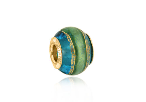 Close Out Deal 9K Y Gold Blue and Green Colour Murano Glass Bead Charm