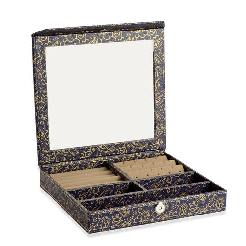 Hand Crafted - Eco Leatherette Paisley Pattern Blue and Golden Colour Ring and Earrings Storage Box (Size 24x22x4 Cm)