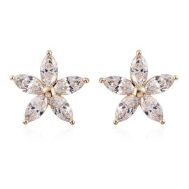 J Francis - 9K Yellow Gold Floral Stud Earrings (with Push Back) Made with SWAROVSKI ZIRCONIA