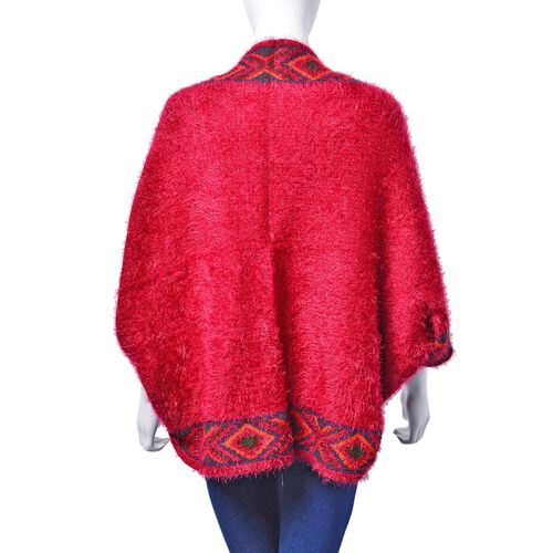 Red Colour Ruana with Diamond Pattern on Edge (Free Size)