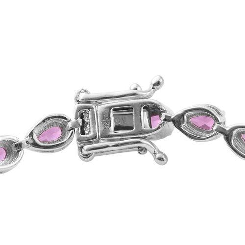 Rare Natural Purple Garnet (Pear) Bracelet (Size 8) in Platinum Overlay Sterling Silver 7.00 Ct.