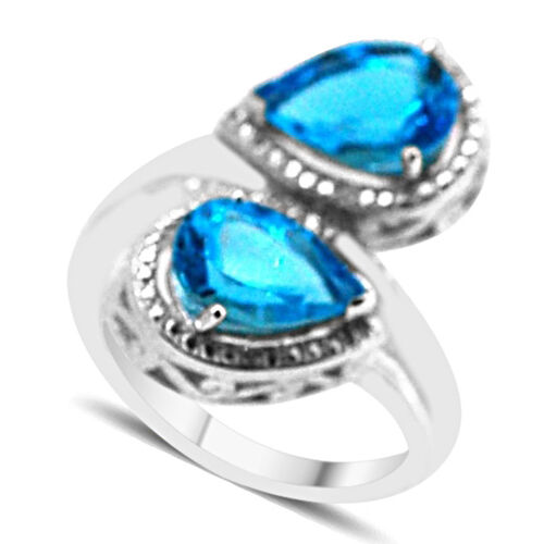 Swiss Blue Topaz (Pear), Diamond Crossover Ring in Rhodium Plated Sterling Silver 4.400 Ct.