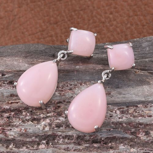 Natural Peruvian Pink Opal (Pear) Earrings (with Push Back) in Platinum Overlay Sterling Silver 11.750 Ct.