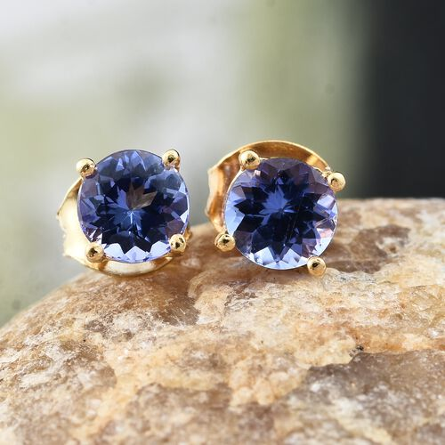 1 Carat Tanzanite Stud Earrings in Gold Plated Silver (with Push Back)