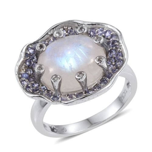 GP Rainbow Moonstone (Ovl 9.25 Ct), Kanchanaburi Blue Sapphire, Tanzanite and White Topaz Ring in Platinum Overlay Sterling Silver 10.250 Ct.