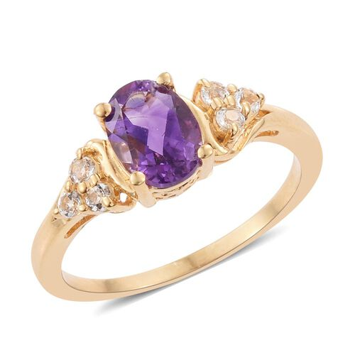 Amethyst, White Topaz 1.45 Ct Ring in Gold Overlay Sterling Silver