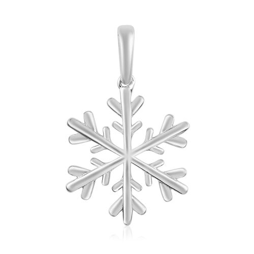 Snowflake Silver Charm Pendant in Platinum Overlay, Silver Wt 1.61 gms