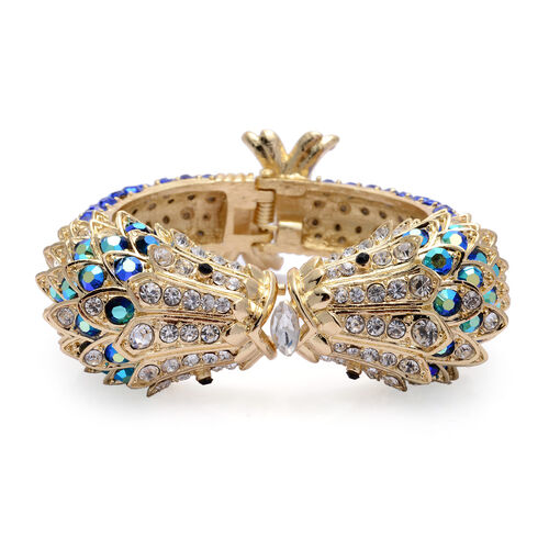 Designer Inspired Blue and Multi Colour Austrian Crystal Bangle (Size 7.5) in Gold Tone