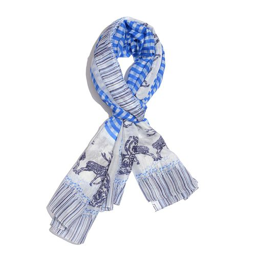 100% Mulberry Silk Blue and White Colour Deer Pattern Scarf (Size 180x100 Cm)