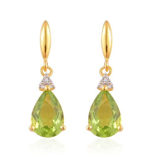 AA Hebei Peridot (Pear), White Topaz Earrings (with Push Back) in Yellow Gold Overlay Sterling Silver 2.800 Ct.