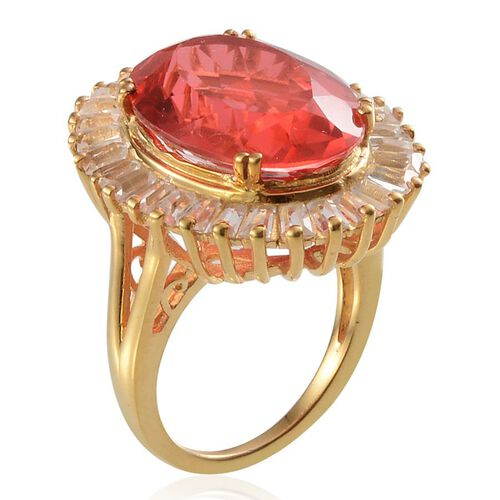 Padparadscha Colour Quartz (Ovl 11.25 Ct), White Topaz Ring in 14K Gold Overlay Sterling Silver 14.250 Ct.