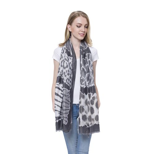 Black and White Colour Zebra Pattern Dark Grey Colour Scarf (Size 180x90 Cm)