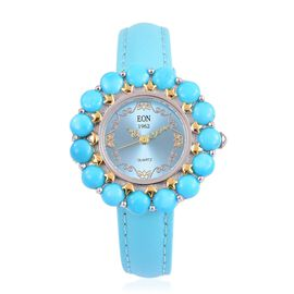 EON 1962 Japanese Movement SLEEPING BEAUTY TURQUOISE (15.00 Ct), Turquoise Dial Water Resistant Watch in Rhodium and Gold Overlay Sterling Silver with Steel Turquoise Leather Strap (Silver wt 18 Gms)