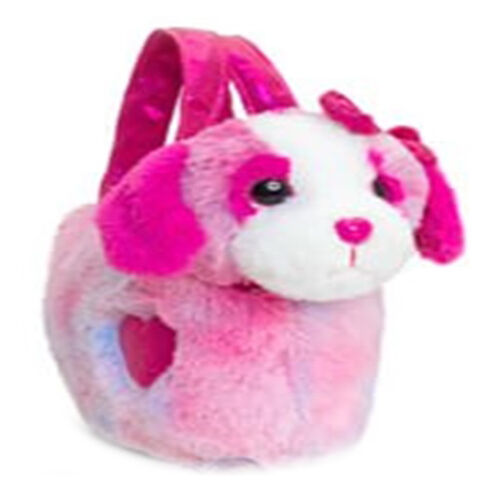 Keel Toys - Dog in a bag- Dark pink (Size 20 Cm)