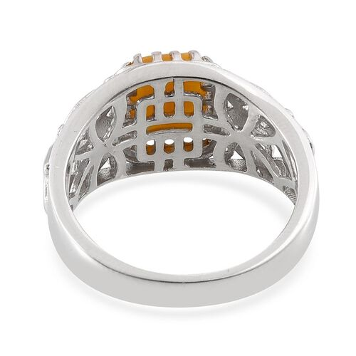 Yellow Jade (Bgt) Solitaire Ring in Platinum Overlay Sterling Silver 2.500 Ct.