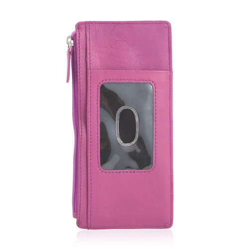 Genuine Leather RFID Blocker Fuchsia Colour Ladies Wallet (Size 17x8 Cm)