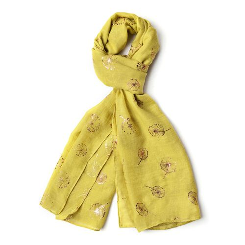 Golden Dandelion Pattern Green Colour Scarf with Fringes (Size 180X70 Cm)