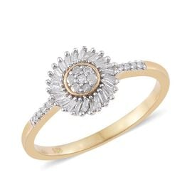 Diamond (Rnd) Ring in 14K Gold Overlay Sterling Silver 0.330 Ct.
