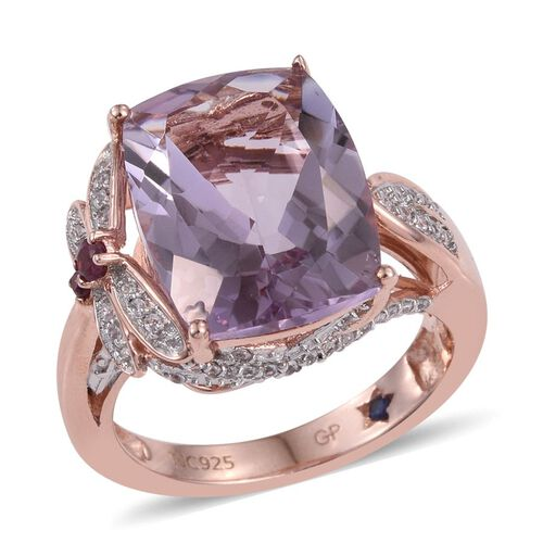 GP Rose De France Amethyst (Cush 8.90 Ct), Rhodolite Garnet, Kanchanaburi Blue Sapphire and Natural Cambodian Zircon Ring in Rose Gold Overlay Sterling Silver 9.500 Ct.