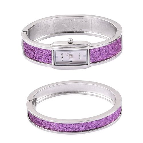 STRADA Japanese Movement White Dial Water Resistant Watch and Bangle (Size 7.5) with Purple Stardust and Silver Tone Strap