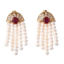 Exclusive Edition- GP African Ruby (Rnd), Fresh Water Pearl and Kanchanaburi Blue Sapphire Earrings (with Push Back) in 14K Gold Overlay Sterling Silver 23.500 Ct.
