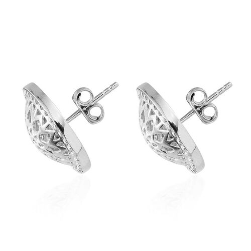 Platinum Overlay Sterling Silver Dreamcatcher Stud Earrings (with Push Back), Silver wt 5.90 Gms.