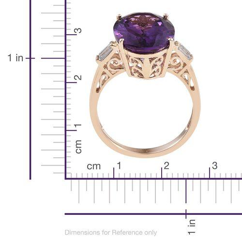 9K Y Gold Zambian Amethyst (Ovl), Natural Cambodian Zircon Ring 11.250 Ct.