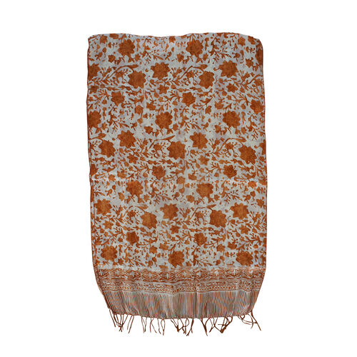 Brown Colour Batik Print 100% Silk Scarf (Size 150x45 Cm)