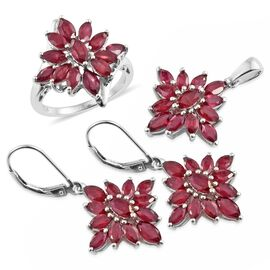 African Ruby (Mrq) Ring, Pendant and Lever Back Earrings in Platinum Overlay Sterling Silver 10.000 Ct. Silver wt 9.86 Gms.