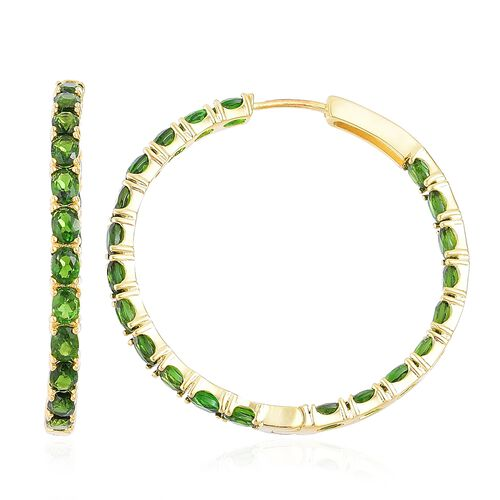 Russian Diopside (Ovl) Hoop Earrings (with Clasp) in Yellow Gold Overlay Sterling Silver 8.750 Ct. Silver wt 7.30 Gms.