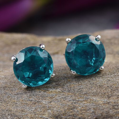 Capri Blue Quartz (Rnd) Stud Earrings (with Push Back) in Platinum Overlay Sterling Silver 4.000 Ct.