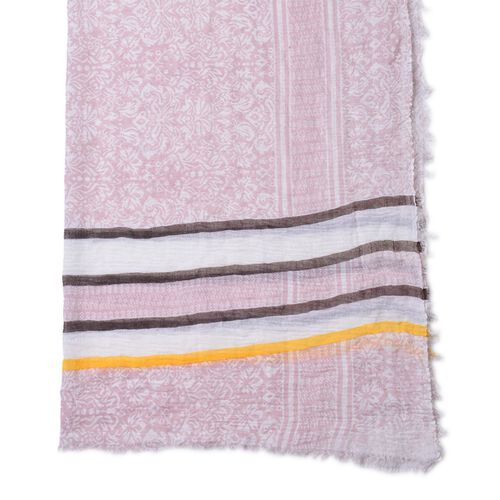 One Time Deal-Pink, White and Multi Colour Stripes Pattern Scarf with Fringes (Size 180X90 Cm)