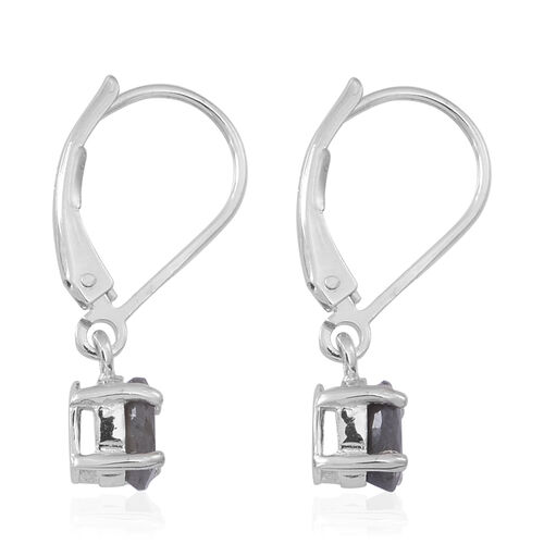Natural Silver Sapphire (Ovl) Lever Back Earrings in Rhodium Plated Sterling Silver 1.500 Ct.