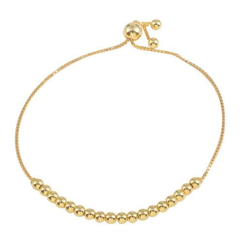 Designer Inspired JCK Vegas Collection 14K Gold Overlay Sterling Silver Adjustable Beads Bracelet (Size 6 to 9), Silver Wt 3.60 Gms.