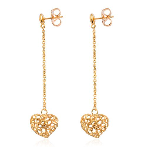 RACHEL GALLEY Yellow Gold Overlay Sterling Silver Amore Heart Lattice Earrings (with Push Back), Silver wt 5.68 Gms.