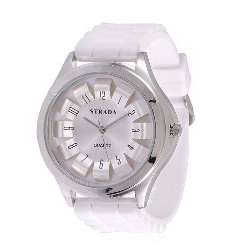 STRADA Japanese Movement Silver Colour Dial Water Resistant Watch in Silver Tone with Stainless Steel Back and White Colour Silicone Strap