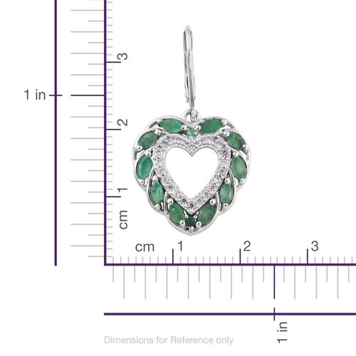 Kagem Zambian Emerald (Mrq), Natural Cambodian Zircon Heart Lever Back Earrings in Platinum Overlay Sterling Silver 2.750 Ct.
