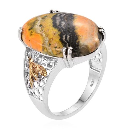 Bumble Bee Jasper (Ovl) Ring in Platinum and Yellow Gold Overlay Sterling Silver 17.000 Ct.