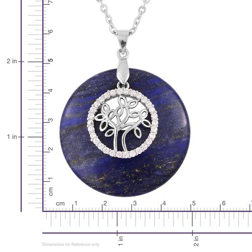 Designer Inspired Tree of Life and Lapis Lazuli with White Austrian Crystal Pendant With Chain (Size 24) in Silver Tone with Hypoallergenic Stainless Steel 72.000 Ct.