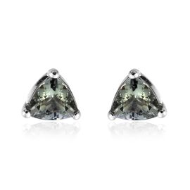 9K White Gold 1 Ct AA Green Tanzanite Stud Earrings (with Push Back)
