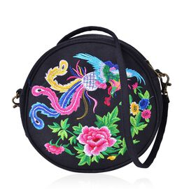 SHANGHAI COLLECTION Phoenix Embroidered Round Shape Crossbody Bag with Removable Shoulder Strap (Size 19X18X6 Cm)