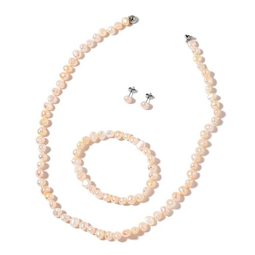 High Lustre Double Shine Fresh Water White Pearl Necklace (Size 20) with Magnetic Clasp, Stretchable Bracelet (Size 7) and Ball Stud Earrings (with Push Back) in Stainless Steel