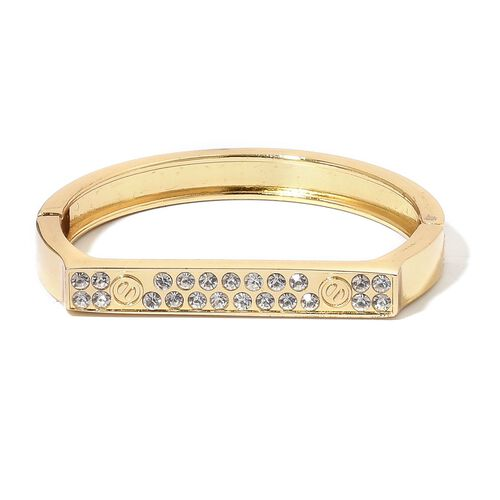 Designer Inspired - White Austrian Crystal Bangle (Size 7) in Yellow Gold Tone