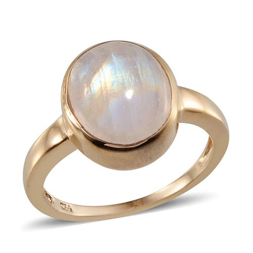 Rainbow Moonstone (Ovl 5.75 Ct) Solitaire Ring in 14K Gold Overlay Sterling Silver 5.750 Ct.