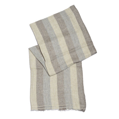 Super Bargin Price - Cashmere & Merino Wool Blend  Chocolate, Beige & Grey Colour Scarf with Fringes (Size 200X65 Cm) Weight 110 Gms