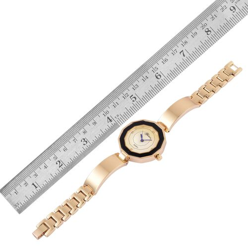 GENOA Japanese Movement MOP Dial with White Austrian Crystal Water Resistant Watch in Gold Tone with Stainless Steel Back and Chain Strap
