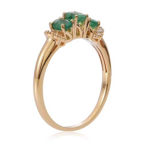 ILIANA 18K Y Gold Kagem Zambian Emerald (Ovl), Diamond Ring 1.150 Ct.